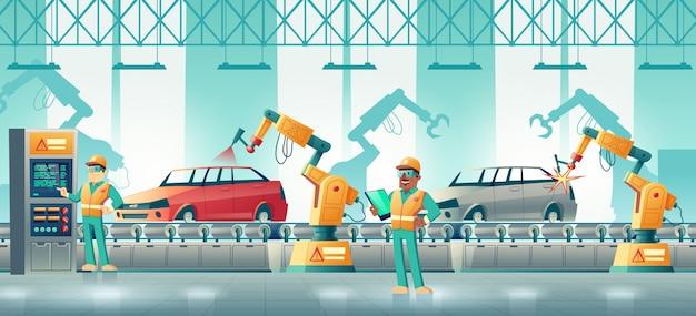 Robotisiertes autofabrik-karikaturkonzept Kostenlosen Vektoren