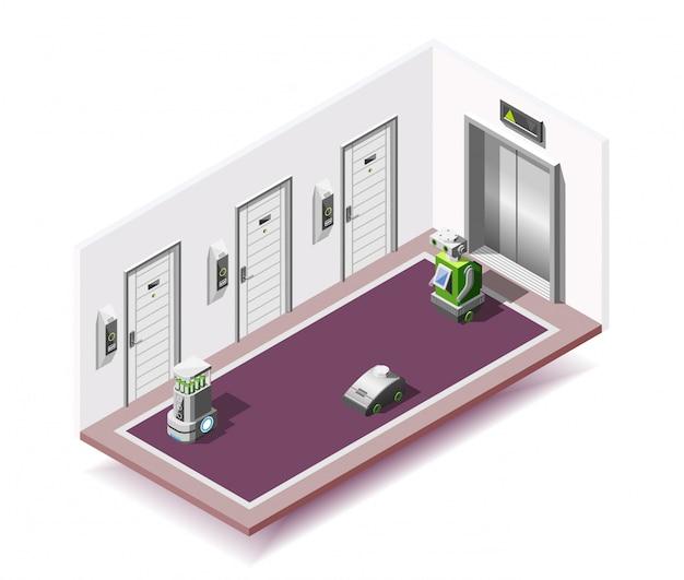 Robotized hotels isometrische zusammensetzung Kostenlosen Vektoren