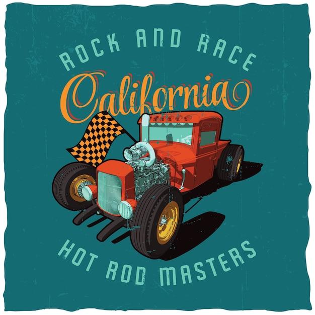 Rock and race kalifornien poster mit bild des autos auf dem blauen feld Kostenlosen Vektoren