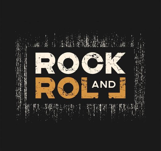 Rock-and-rollt-shirt und -kleid entwerfen mit schmutzeffekt und Premium Vektoren