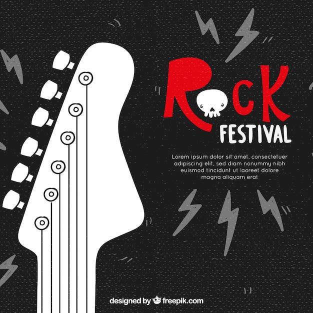 Rock festival hintergrund mit gitarre Kostenlosen Vektoren