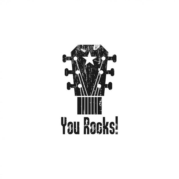 Rock gitarre logo vorlage abbildung Premium Vektoren