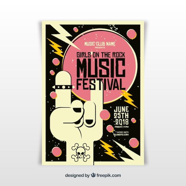 Rock-musik-festival-plakat-vorlage Kostenlosen Vektoren