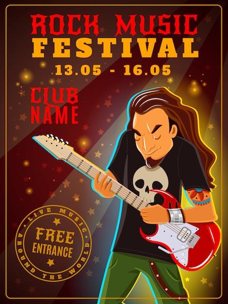 Rock-musik-festival-plakat Kostenlosen Vektoren