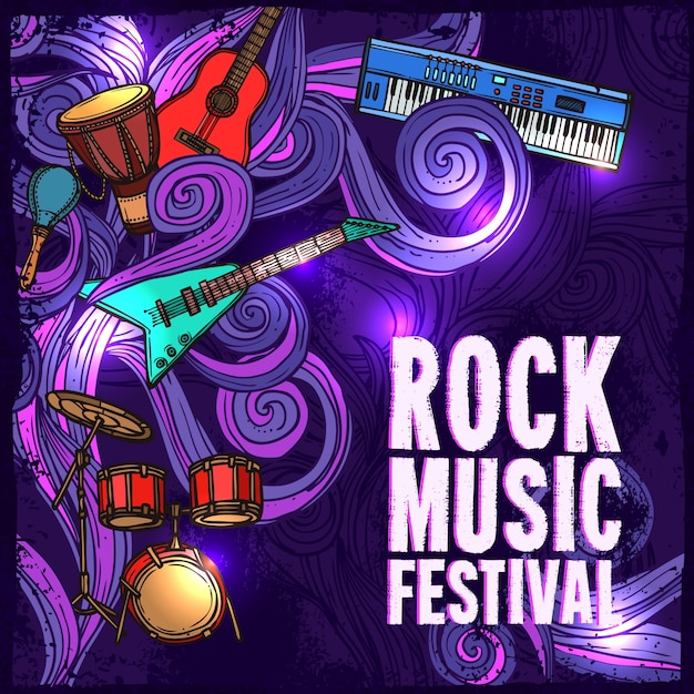Rock musik festival poster mit e-gitarre schlagzeug tasteninstrumente vektor-illustration Kostenlosen Vektoren