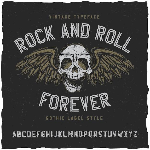 Rock'n'roll-label-schriftart Kostenlosen Vektoren