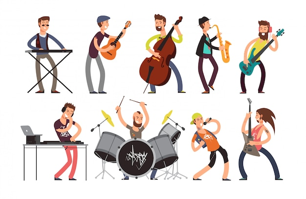 Rock'n'roll-musikbandcharaktere mit musikinstrumenten. Premium Vektoren