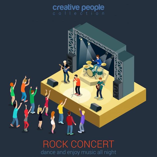 Rock pop musik band professionelles konzert flach isometrisches konzept junge leute spielen instrumente tanzen in der nähe der szene bühne. Kostenlosen Vektoren
