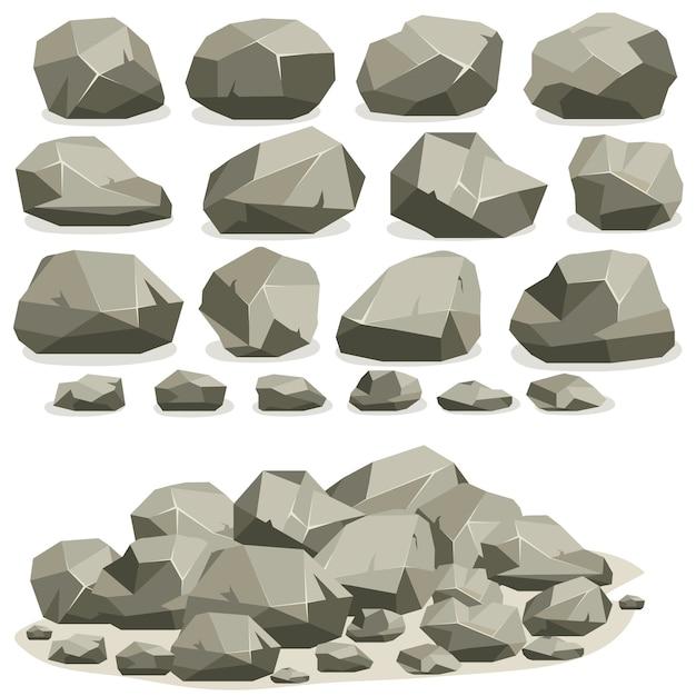 Rock stone cartoon im isometrischen flachen stil. set verschiedene felsbrocken. natursteine stapeln sich. Premium Vektoren
