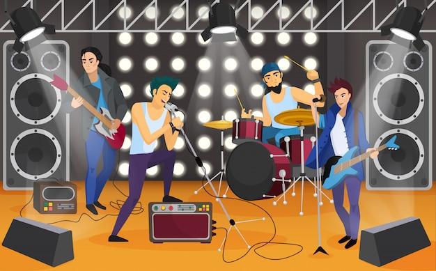Rockband auf der bühne Premium Vektoren