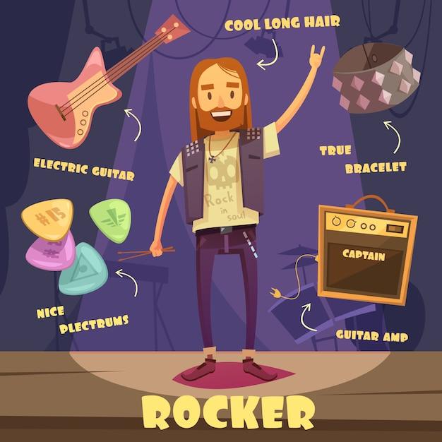 Rocker character pack für den menschen Kostenlosen Vektoren