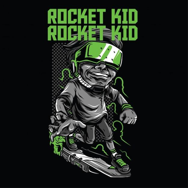 Rocket kid abbildung Premium Vektoren