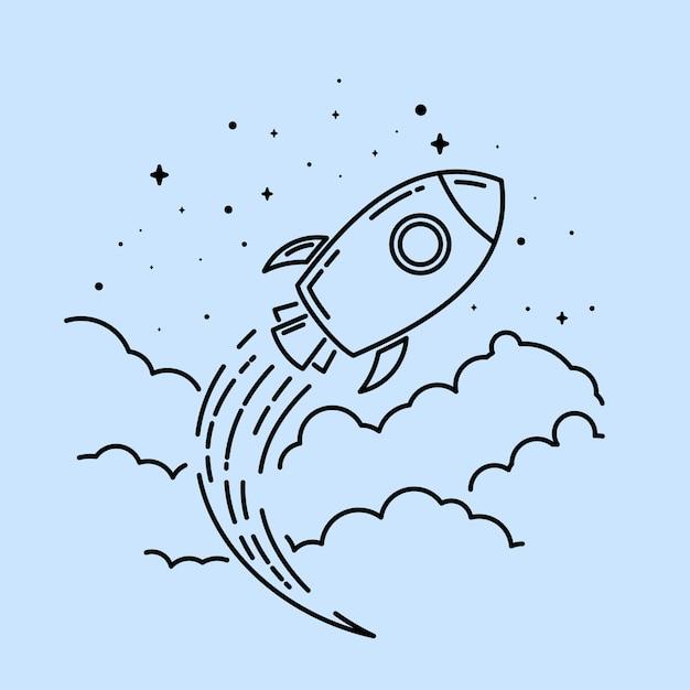 Rocket-linie kunst logo Premium Vektoren