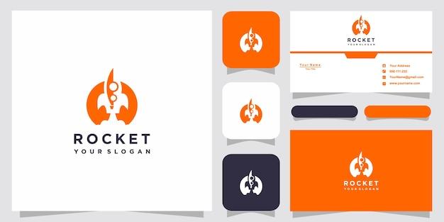 Rocket-logo-vorlagen und visitenkarten-design premium vector Premium Vektoren