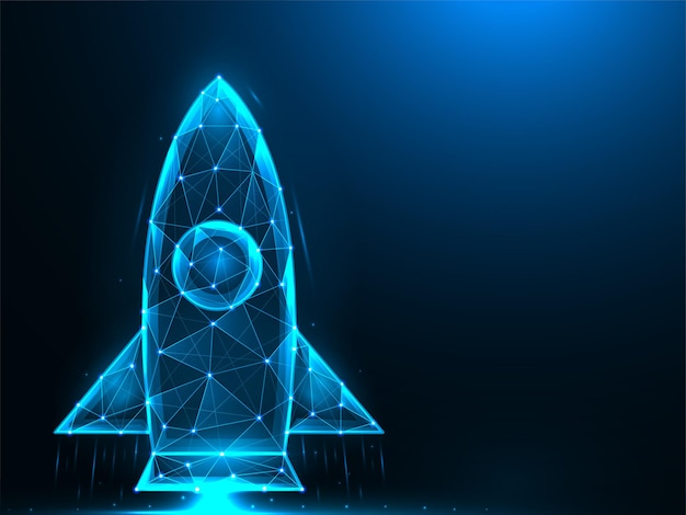 Rocket low poly design. space-shuttle-start polygonal. Premium Vektoren