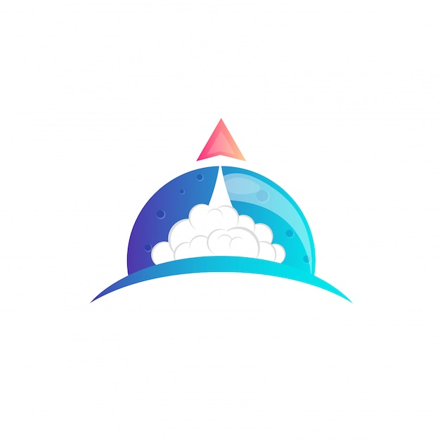 Rocket moon-logo-design Premium Vektoren