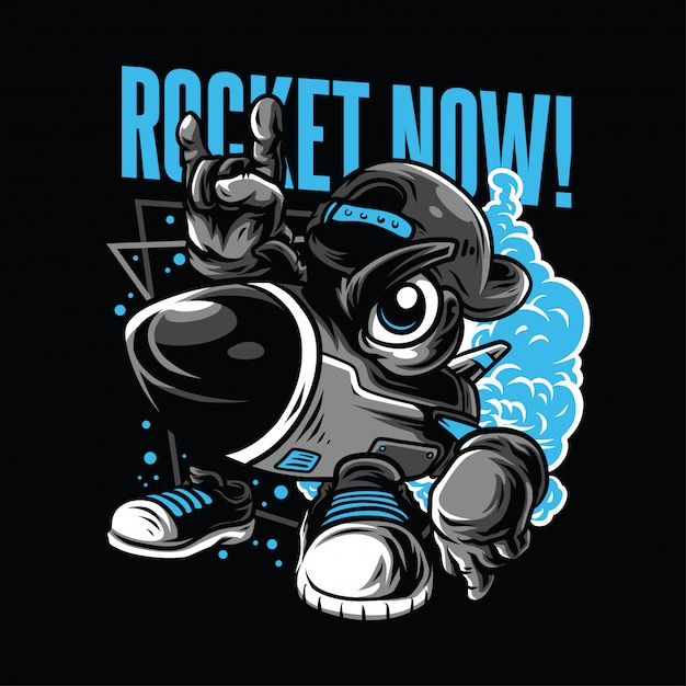 Rocket now! illustration Premium Vektoren
