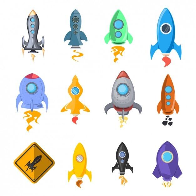 Rocket ship icon collection Kostenlosen Vektoren