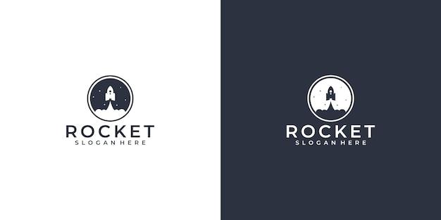 Rocket sky logo deisgn Premium Vektoren