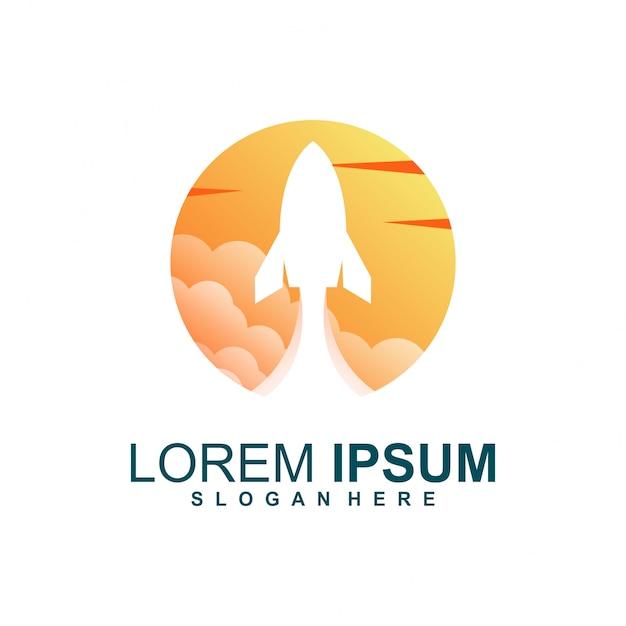 Rocket sonnenuntergang logo Premium Vektoren