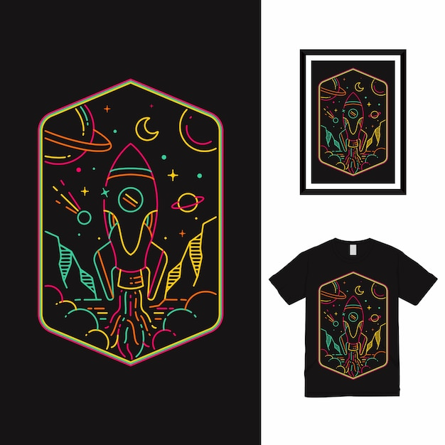 Rocket space line art t-shirt design Premium Vektoren