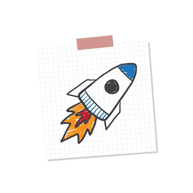 Rocketship beginnen anmerkung illustration Kostenlosen Vektoren