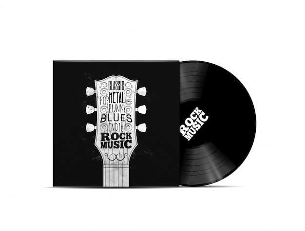 Rockmusik-konzept. vinyl dick mockup mit rock-n-roll-cover im musikstil für die musikwiedergabeliste oder das album. auf weißem hintergrund isoliert. illustration Premium Vektoren