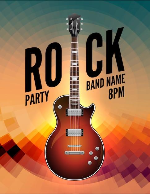 Rockmusik live-konzert poster flyer. rock party festival show band poster mit gitarre Premium Vektoren