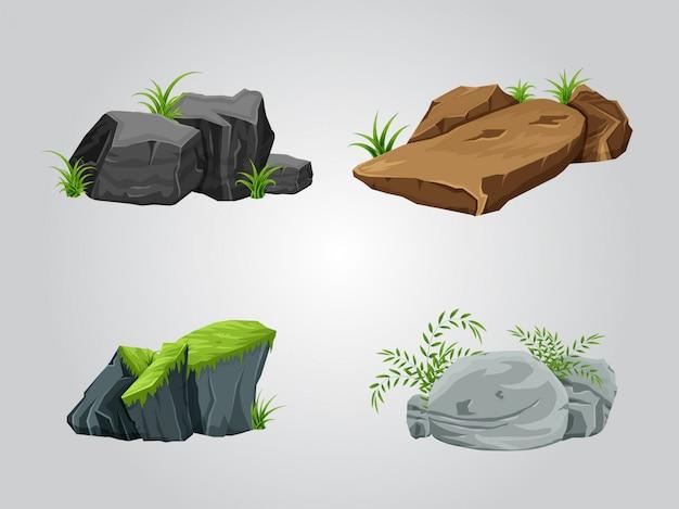 Rocks sammlungssatz Premium Vektoren