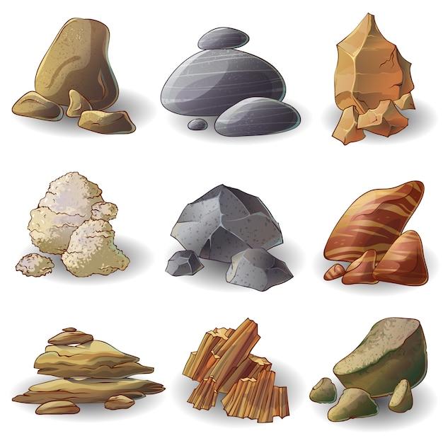 Rocks stones sammlung Kostenlosen Vektoren