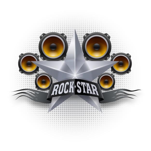 Rockstar-banner mit metallstar und akustischen lautsprechern Premium Vektoren