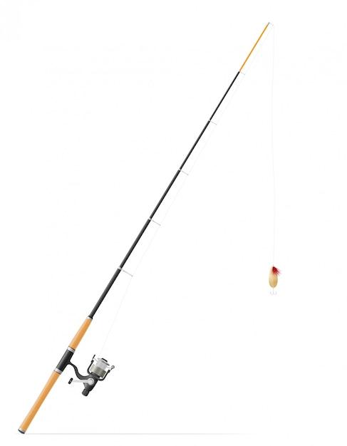 Rod, der für das fischen der vektorillustration spinnt Premium Vektoren