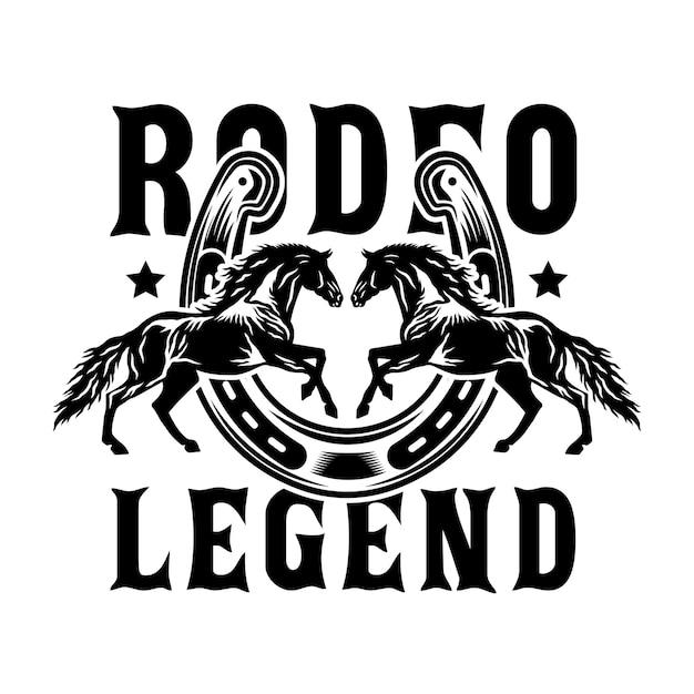 Rodeo cowboy pferde mit hufeisen Premium Vektoren