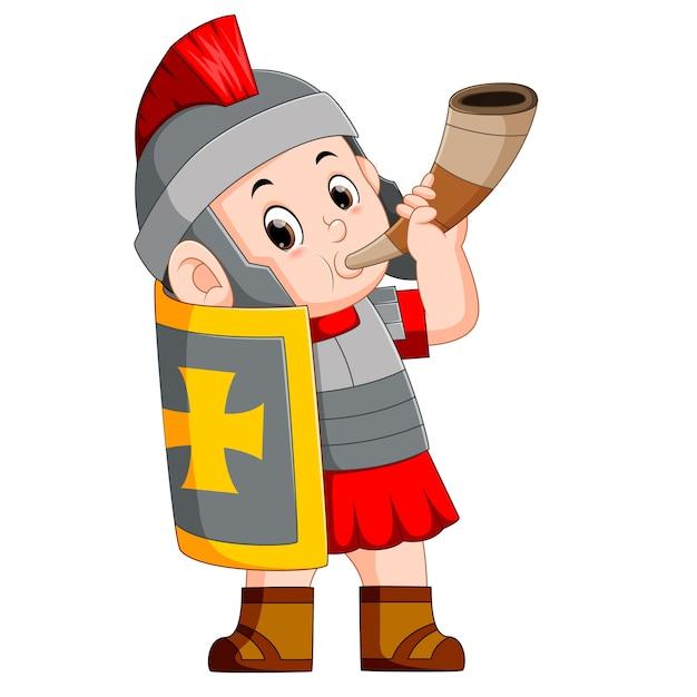 Römischer soldat bläst kriegshorn Premium Vektoren