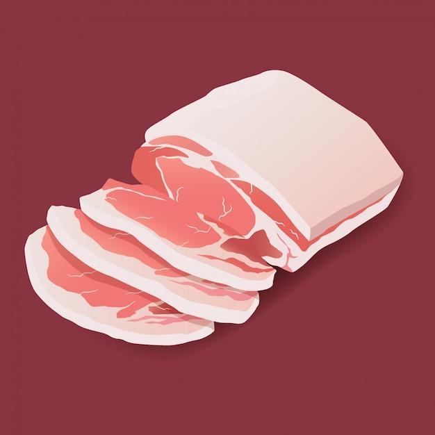 Rohe schweinefleischsteak-fleischikone auf weiß Premium Vektoren