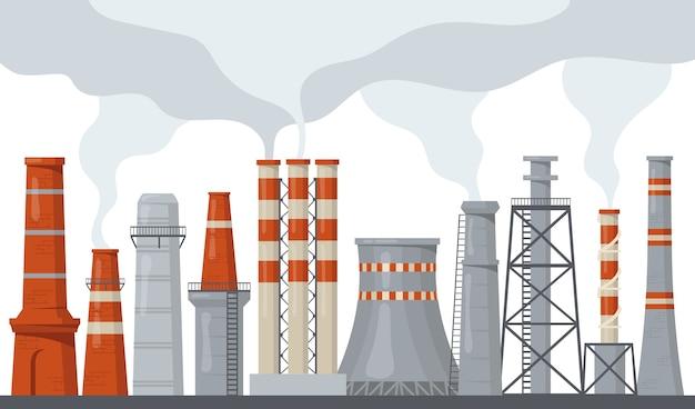 Rohr- und stapelfabrik mit flachem illustrationssatz für giftige energie. industrielle schornsteinverschmutzung der karikatur mit rauch oder dampf isolierte vektorillustrationssammlung. umwelt- und ökologiekonzept Kostenlosen Vektoren