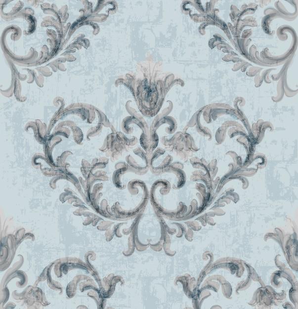 Rokoko silber textur muster mit floralen ornamenten Kostenlosen Vektoren