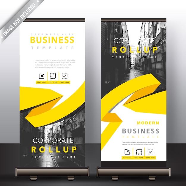 Roll-up-banner mit gelben band detailliert Kostenlosen Vektoren