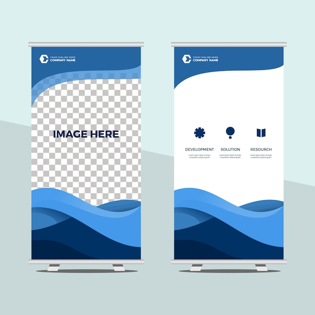 Roll up banner template Premium Vektoren