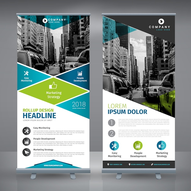 Roll up Template-Design Kostenlose Vektoren