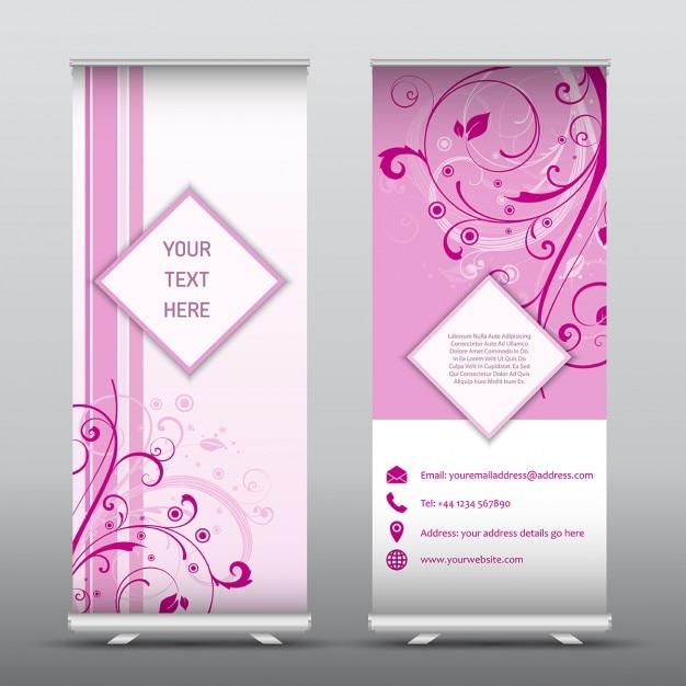 Roll up werbebanner mit floralen design ideal für hochzeit veranstaltungen Kostenlosen Vektoren
