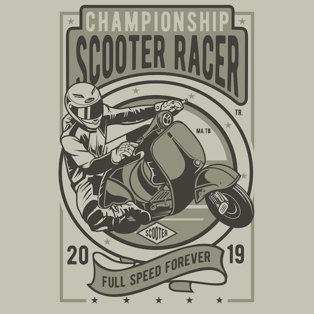 Roller racer abzeichen Premium Vektoren