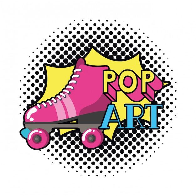 Rollschuhe pop-art-ikone Premium Vektoren