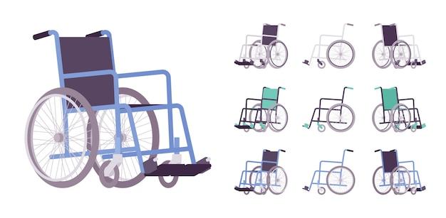 Rollstuhl-cartoon-set Premium Vektoren