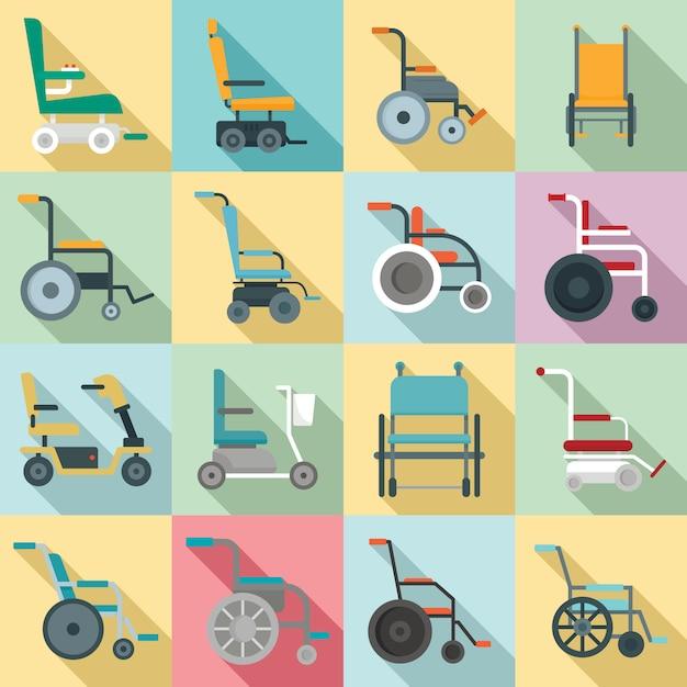 Rollstuhlikonen eingestellt, flache art Premium Vektoren