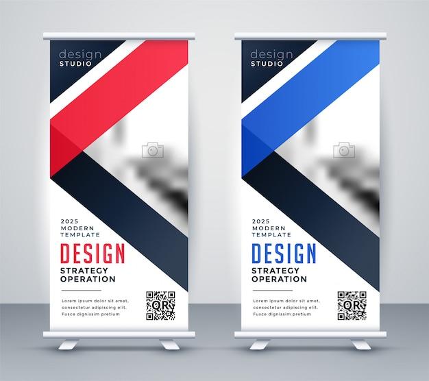 Rollup banner präsentationsvorlagensatz Kostenlosen Vektoren