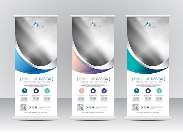 Rollup xbanner stand template design Premium Vektoren