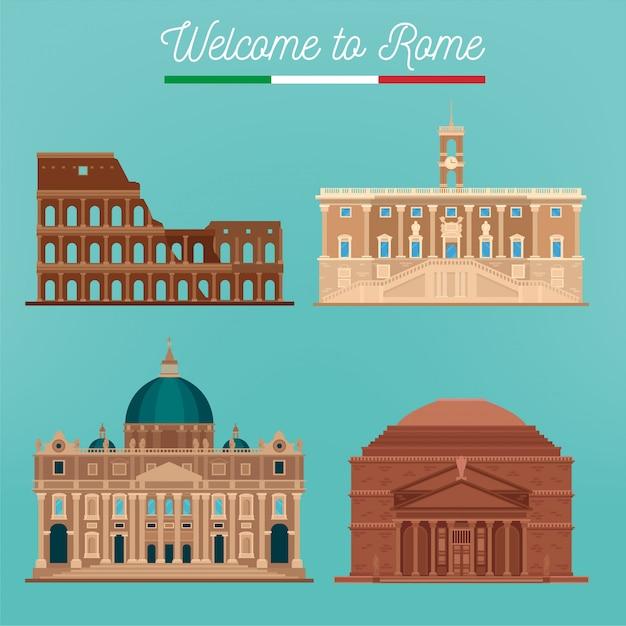 Rom architektur. tourismus italien Premium Vektoren