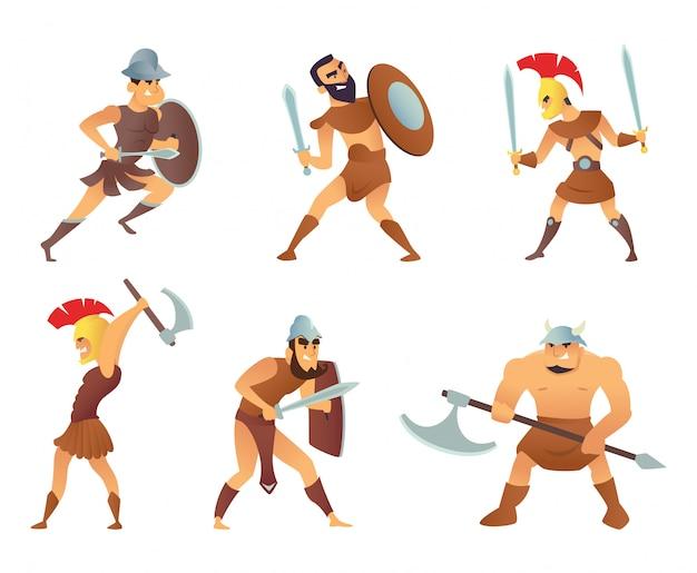 Rom ritter oder gladiatoren in verschiedenen action-posen Premium Vektoren