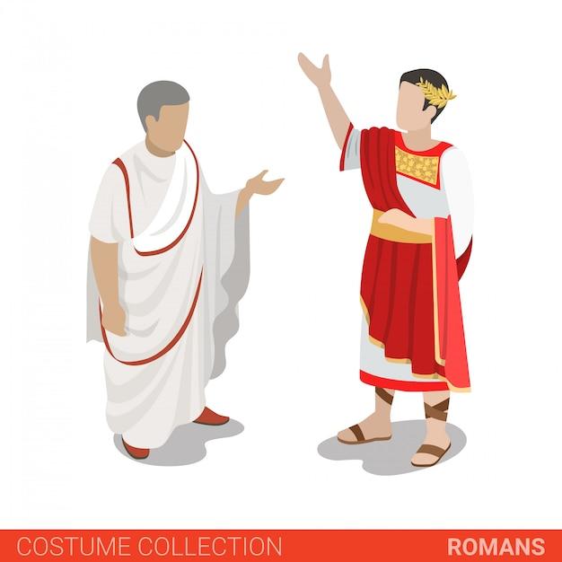 Roman empire caesar und senator vector illustration. Premium Vektoren